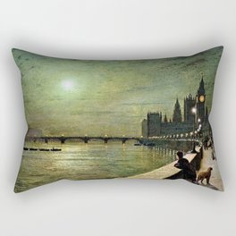 Reflections on the Thames River, London by John Atkinson Grimshaw Rectangular Pillow