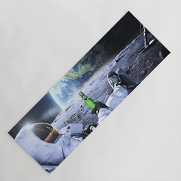 Astronaut on the Moon with beer Yoga Mat