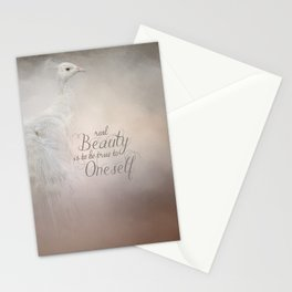 Real Beauty is to be True To Oneself White Peacock Stationery Cards