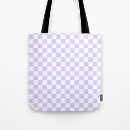 White and Pale Lavender Violet Checkerboard Tote Bag