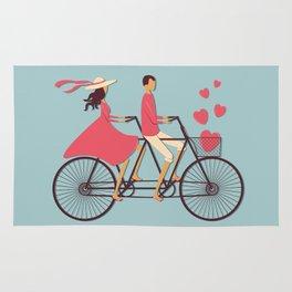 Love Couple riding on the bike Rug