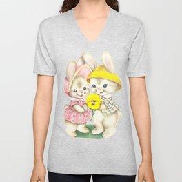 Bunny Girl + Boy Unisex V-Neck