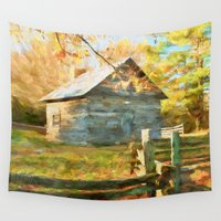 cabin Wall Tapestries featuring Pucketts Cabin by ThePhotoGuyDarren