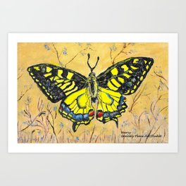 Swallowtail Butterfly with Blue Flowers Art Print