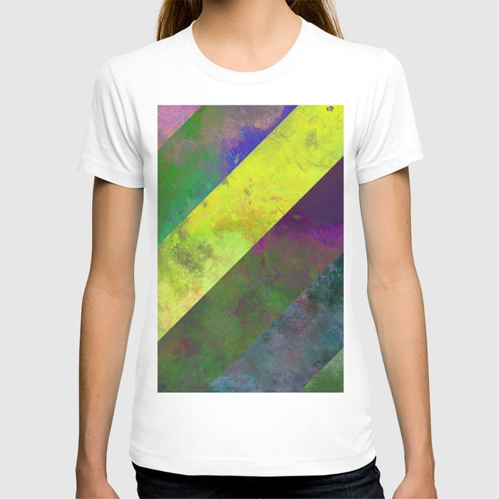 45 Degrees - Abstract, textured, diagonal stripes T-shirt
