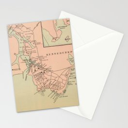 Vintage Kennebunkport & Cape Arundel ME Map (1894) Stationery Cards