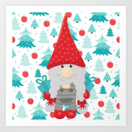 Holiday Gnome with gifts Art Print