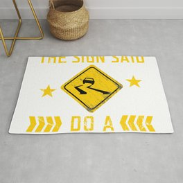 But Officer The Sign Said Do A Burnout Automotive Sports Team Racing Car Racetrack T-shirt Design Rug