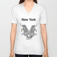 rat V-neck T-shirts featuring Rat by Nick Bright