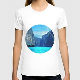 Blue Circle Landscape Print, Minimalist, Modern, Large, Tropical, Water, Ocean, Lake T-shirt
