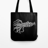 squid Tote Bags featuring Squid by Tim Jeffs Art