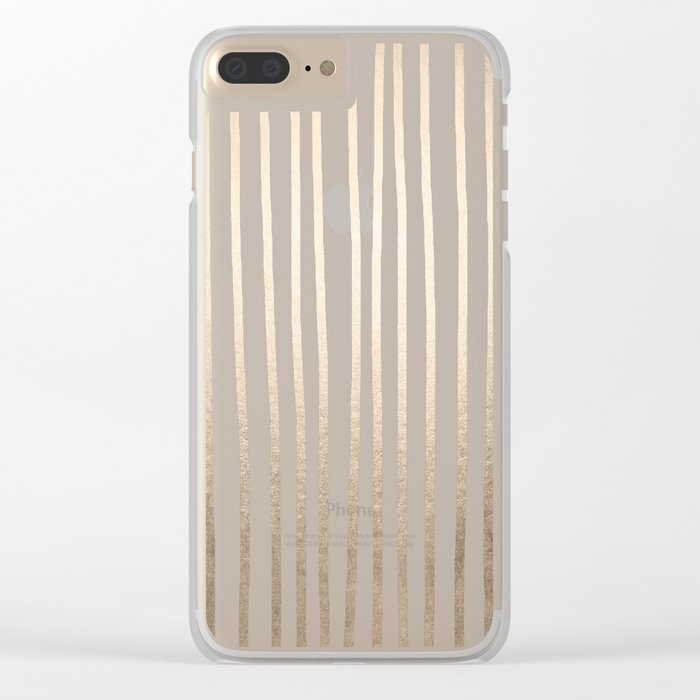 Simply Drawn Vertical Stripes in White Gold Sands Clear iPhone Case