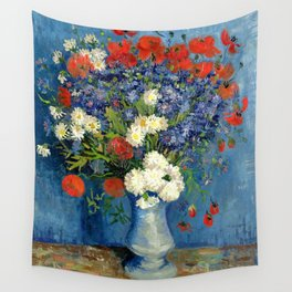 Vase With Cornflowers And Poppies Wall Tapestry