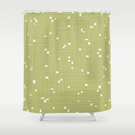 Light Green and White Grid - Missing Pieces Shower Curtain