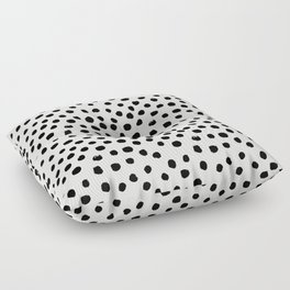 Preppy brushstroke free polka dots black and white spots dots dalmation animal spots design minimal Floor Pillow