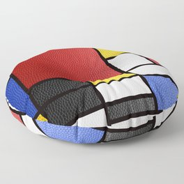 Mondrian in a Leather-Style Floor Pillow