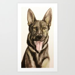 German Shepherd Custom Pet Portrait Art Print