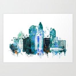 Charlotte Skyline watercolor Art Print