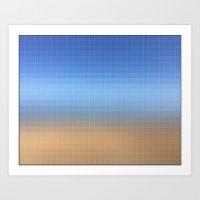 blue pixels  Art Print