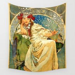 """Alphonse Mucha  """"Princess Hyacinth"""" Wall Tapestry"""
