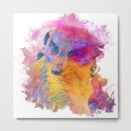 Painterly Animal -Meerkat Metal Print