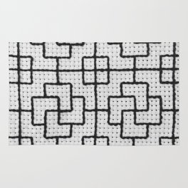 Vintage Window Grille Cross Stitch Pattern #6 Rug