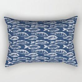 Fish // Navy Blue Rectangular Pillow