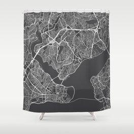 Istanbul Map, Turkey - Gray Shower Curtain