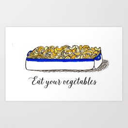 Illustration: Eat Your Vegetables, Food Art, Kitchen Art, Mac n' Cheese Art Print