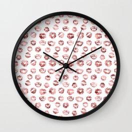 Girly Fashion Lips Rose Gold Lipstick Pattern Wall Clock