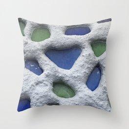 Sea Glass Mosaic Detail Throw Pillow
