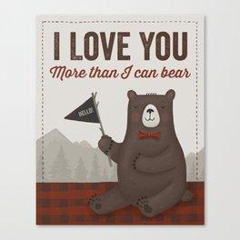 Plaid Bear Canvas Print
