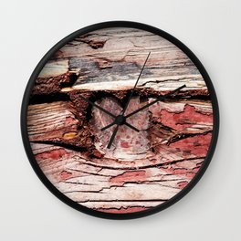 Wooden Knot And Old Red Paint Over Wooden Planks Wall Clock