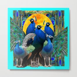 STATELY BLUE PEACOCKS FLOCK Metal Print
