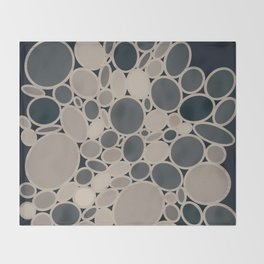 OMEGA circular abstract of neutral beige and gray on black Throw Blanket