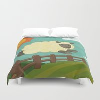 sheep Duvet Covers featuring Sheep by Claire Lordon