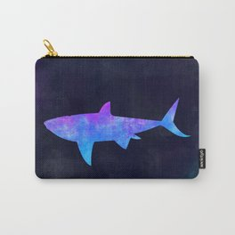 SHARK IN SPACE // Animal Graphic Art // Watercolor Canvas Painting // Modern Minimal Cute Carry-All Pouch