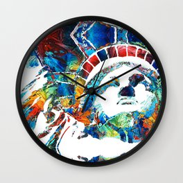 Colorful Statue Of Liberty - Sharon Cummings Wall Clock