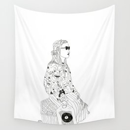 girl with record plastic bag Wall Tapestry