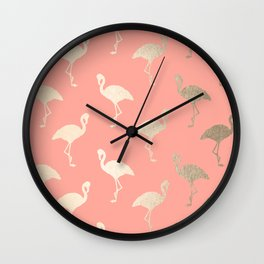 Gold Flamingo Pattern Coral Pink Wall Clock