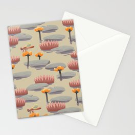 Dragonfly resting on yellow pond lily Stationery Cards