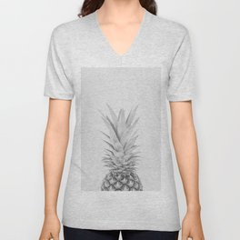 Pineapple a Day - black and white Unisex V-Neck