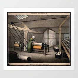 A woman is working at large rollers winding cotton onto reels. Coloured lithograph after Barfoot. Art Print