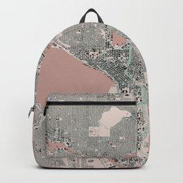 Seattle, Washington City Map, Pink Blush Backpack