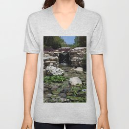 Oil Painting of Waterfall and Lily Pond near San Antonio Riverwalk Unisex V-Neck
