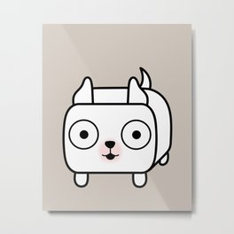 Pitbull Loaf - White Pit Bull with Cropped Ears Metal Print