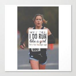 Run Like A Girl Lady Boss Runner Queen Princess Canvas Print