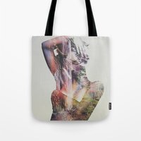 andreas preis Tote Bags featuring Wilderness Heart by Andreas Lie