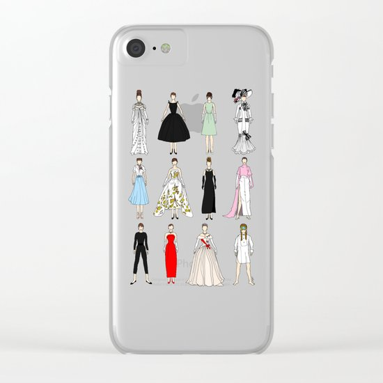 Audrey Fashion Vintage Retro in Cream Clear iPhone Case