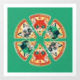 Pizza Slice Cats  Art Print